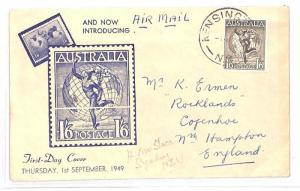 AUSTRALIA First Day Cover 1s6d *Hermes* Illustrated FDC Kensington GB 1949 BH49