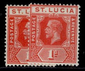 ST. LUCIA GV SG79 + 79a, 1d SHADE VARIETIES, M MINT. Cat £10.