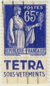 FRANCE - 1937 Pub TETRA SOUS-VÊTEMENTS sur Yv.365b 65c Paix obl.