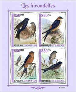 Central Africa - 2021 Swallows, Southern Martin - 4 Stamp Sheet - CA210317a