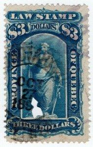 (I.B) Canada Revenue : Quebec Law Stamp $3 (1871)