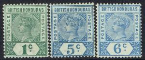 BRITISH HONDURAS 1891 QV KEY TYPE 1C 5C AND 6C