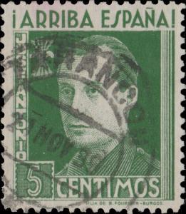 ESPAGNE / SPAIN 1939 Sello Benéfico 5c verde José Antonio Usado TARANCÓN, Cuenca