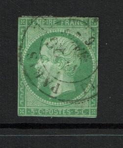 France # 13, Used, sm Shallow Ctr thin, Hinge Rem, close margins - Lot 073017