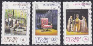 Pitcairn Islands. # 160-162, Silver Jubilee, Used, 1/2 Cat.