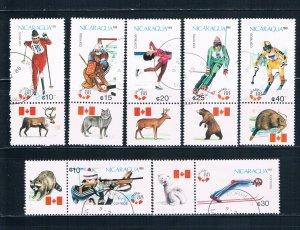 Nicaragua 1675-81 Used set Winter Olympics 1988 (N0717)+