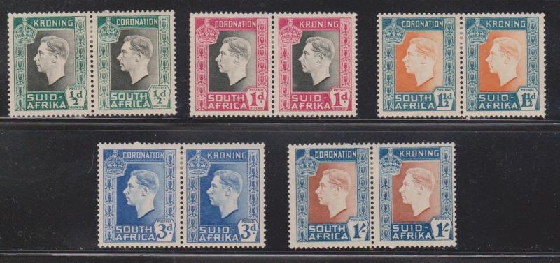 SOUTH AFRICA Scott # 74-78 MH - KGVI Coronation Set