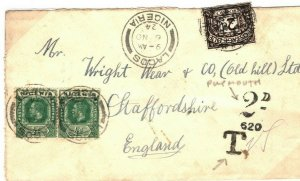 NIGERIA Cover Lagos Underpaid Postage Dues TAXE 2d GB Staffs 1924{samwells}SA.29