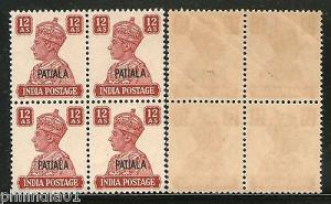 India PATIALA State KG VI 12As Postage SG 115 / Sc 114 BLK/4 Cat. £140 MNH