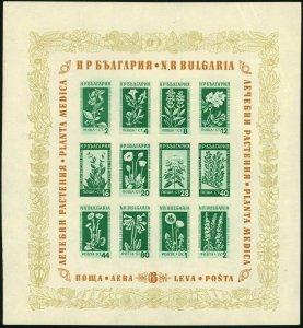 BULGARIA #843a Medicinal Flowers Postage Stamp Souvenir Sheet EUROPE 1953 MNH