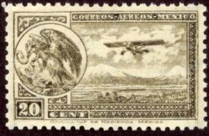 MEXICO C62, 20cents ARMS & PLANE RE-ISSUE. MINT, NH. F-VF.