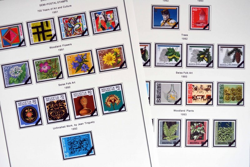 COLOR PRINTED SWITZERLAND 1843-2010 STAMP ALBUM PAGES (213 illustrated pages)