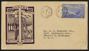 wc077 Canada 1946 Returns to peace 17c Express FDC first day cover cacheted