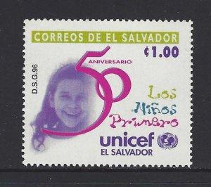 EL SALVADOR UNICEF 50th ANNIVERSARY Sc 1449 MNH 1996