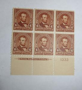#280 4 cent Lincoln plate block