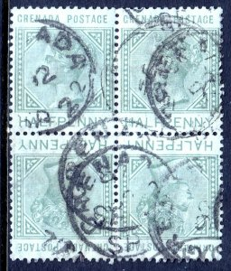 GRENADA — SCOTT 20a (SG 30a) — 1883 ½d QV TÊTE-BÊCHE BLOCK — USED — SCV $38