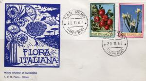 Italy 1967 Sc#934a/935a Flowers/Fruits Set (2) Official F.D.C.(San Remo-Imperia)