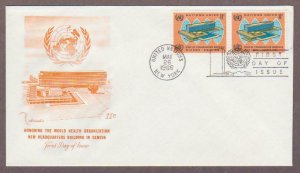 UN # 157 , WHO Headquarters Pair on Artmaster FDC - I Combine S/H