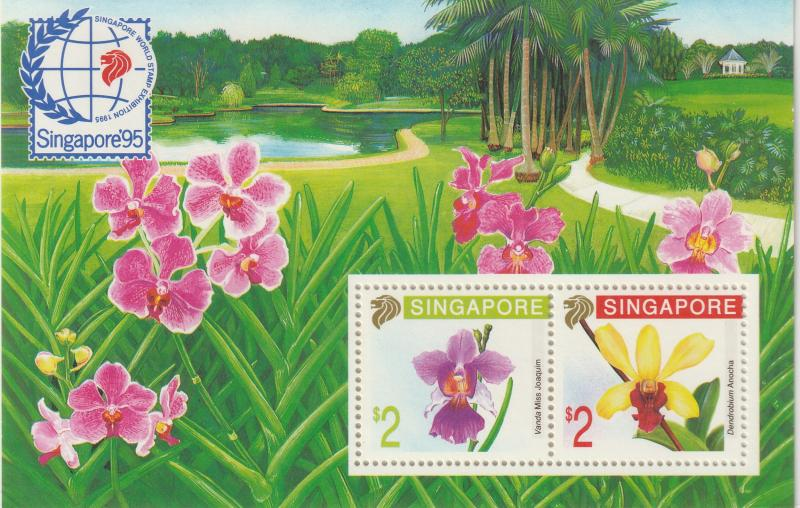 1991 Singapore '95 Orchids Series (1st Issue) MS MNH SG#MS655