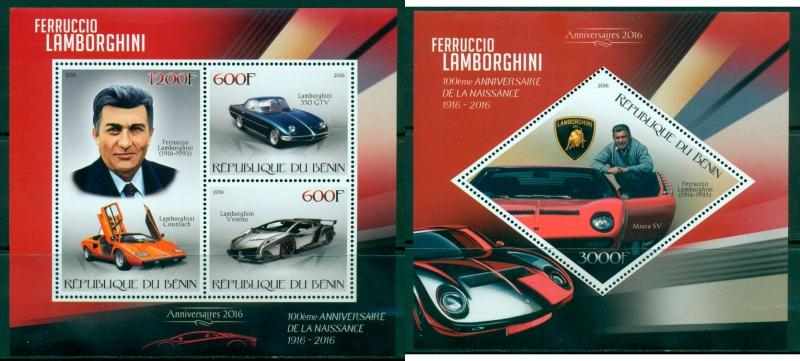 Car Great World Sport Automobiles Lamborghini Benin MNH stamp set 3val and s/s