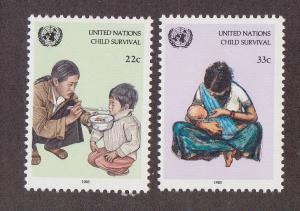 UN - NY # 466-467, Child Survival. MNH, 1/2 Cat.