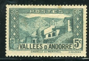 FRENCH ANDORRA; 1932 early Pictorial issue fine Mint hinged 5c. value