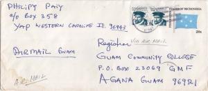 Caroline Islands Micronesia 1c Quiros (2) on 20c Four-Star Envelope 1985 Yap ...