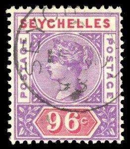 Seychelles 1890 QV 96c mauve & carmine very fine used. SG 8. Sc 18.