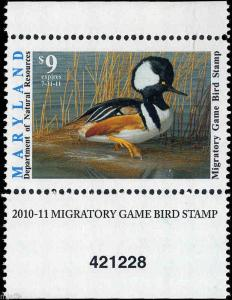MARYLAND #37 2010 STATE DUCK STAMP HOODED MERGANSER  by David Turnbaugh
