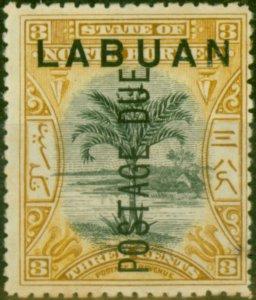 Labuan 1901 3c Black & Ochre SGD2 Fine & Fresh Mtd Mint