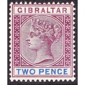 GIBRALTAR 1898 QV 2d Brown-Purple & Ultramarine SG41 MH