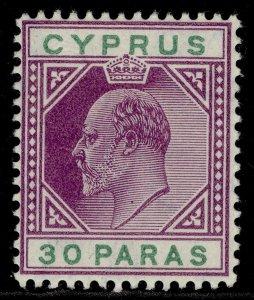 CYPRUS EDVII SG63, 30pa purple & green, M MINT. Cat £21.