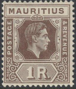 Sc# 219 British Mauritius 1943 KGVI King George VI 1R issue MLMH CV $11.50