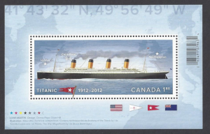 Canada #2535 MNH ss, centenary sinking of the Titanic, issued 2012