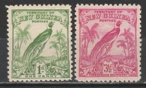 NEW GUINEA 1932 UNDATED BIRD 1D AND 31/2D