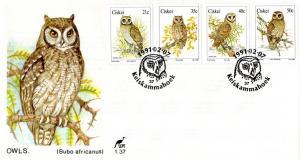 Ciskei - 1991 Owls FDC SG 177-180