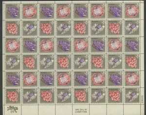 #1541b MINERALS COMPLETE SHEET LIGHT BLUE & YELLOW OMITTED MAJOR ERROR WLM8620
