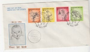 NETHERLANDS ANTILLES,1961 Child Welfare Fund set of 4 on First Day cover