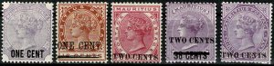 MAURITIUS 1891-93 QV optd COLLECTION (5 STAMPS) SG118-24 Wmk.CROWN CC VGC