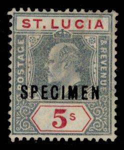 ST. LUCIA EDVII SG74s, 1s green & black, UNUSED. SPECIMEN