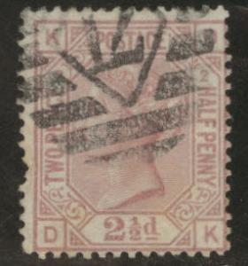 Great Britain Scott 66, 1875 Victoria 2.5p Plate 2 CV$85