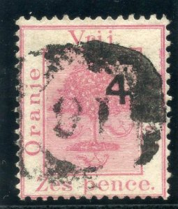 Orange Free State 1877 QV 4d on 6d rose (SG Type 2c) VFU. SG 12. Sc 15.