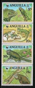 Anguilla #968 MNH Strip - WWF -Iguanas