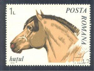 Horses: Hutul, Small Mountain Horse, 1970 Romania, Scott #2212. Free WW S/H