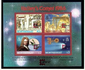 Montserrat 656 MNH 1987 Haleys Comet w/Capex overprint S/S