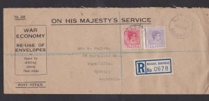 LM8) Bahamas - Sydney 1948 Long Registered OHMS envelope, sent by airmail