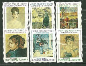 Bulgaria MNH 3603-8 French Impressionists Paintings SCV 5.15