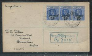 CAYMAN ISANDS (P1706B) 1917  KGV WAR TAX 1 1/2D STRIP OF 3 REG TO ENGLAND