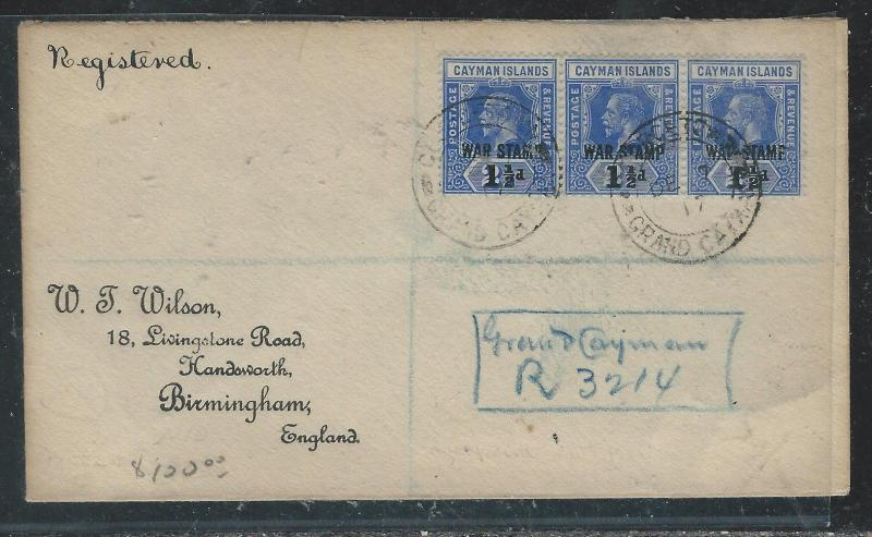 CAYMAN ISANDS (P1706B) 1917  KGV WAR TAX 1 1/2D STRIP OF 3 REG TO ENGLAND