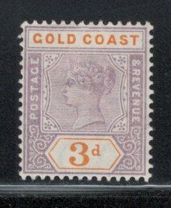 Gold Coast 1898 Queen Victoria 3p Scott # 30 MH Thin